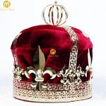 Men's 9″ Red Velvet Crowns Imperial Medieval Tiaras Fleur De Lis Large Full Round King Pageant Party Costumes Hair <b>Jewelry</b>