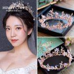 HIMSTORY Vintage Princess Flower Branch Crystal tiara Pink Rhinestone Bridal Hair <b>Jewelry</b> <b>Wedding</b> Queen Pageant Tiaras
