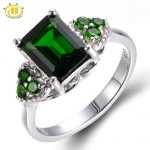 Hutang Emerald Cut Natural Chrome Diopside Wedding Ring Solid 925 <b>Sterling</b> <b>Silver</b> Women's Green Gemstone Fine <b>Jewelry</b> 2017