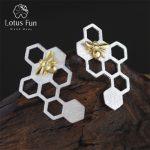 Lotus Fun Real 925 Sterling <b>Silver</b> Natural Creative Handmade Fine Jewelry Honeycomb Home Guard Dangle <b>Earrings</b> for Women Brincos