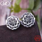 WK Solid Real 925 Sterling <b>Silver</b> Antique Ancient Gothic Big Bloom Flower Stud <b>Earrings</b> Womens Floral Earing New Design 4W EA096