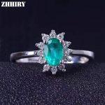 ZHHIRY Real Emerald Ring 925 <b>Sterling</b> <b>Silver</b> Natural Gem Stone Wedding For Women Genuine Fine <b>Jewelry</b> 4*6mm