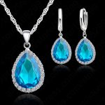 JEXXI Hottest 925 Sterling <b>Silver</b> <b>Necklace</b> Jewelry Set Water Drop Cubic Zircon Crystal <b>Necklaces</b> Wedding <b>Necklace</b> Pendants