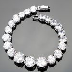 2017 New Round White Gems Bracelets 925 Sterling Silver <b>Jewelry</b> For Women <b>Jewelry</b> With Top AAA+ White CZ Free Gift Box