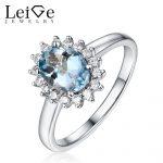 Leige <b>Jewelry</b> Natural Aquamarine Ring Blue Gemstone Halo Oval Cut Prong Setting 925 <b>Silver</b> <b>Jewelry</b> Engagement Rings for Women