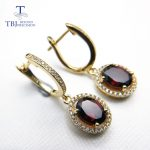 TBJ,Brand Design Elegant clasp drop <b>earring</b> with excellent red garnet in 925 <b>silver</b> yellow gold color female jewelry with box
