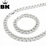 Miami Cuban Link Chain <b>Silver</b> Plated Fully Iced Out Hip Hop Bling 2016 Hot Sale 15mm 30″ Iced Out Hip Hop Chain & 8.5″ <b>Bracelet</b>