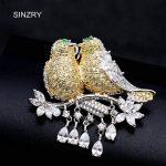 SINZRY elegant New Cubic zirconia micro paved love birds dressing brooch pin lady scarf buckle <b>jewelry</b> accessory
