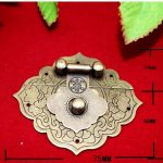 <b>Antique</b> Chinese Furniture Brass Pattern Carved Lock Hasp <b>Jewelry</b> Wooden Box Locking Buckle Hasp Lock Latch,75*64mm,1 Set