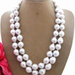 Lii Ji Natural 2 row Freshwater Pearl 11-12mm beads 925 sterling <b>silver</b> <b>Necklace</b> 17″