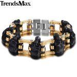 Trendsmax Skulls Bracelet For Men 316L Stainless Steel Bicycle Skulls Link Chain Big Heavy Biker Bracelets <b>Jewelry</b> 22cm HBM66