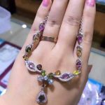 Natural multicolor tourmaline <b>Necklace</b> Natural Gemstone Pendant <b>Necklace</b> S925 sliver trendy Luxury Flowers women party Jewelry