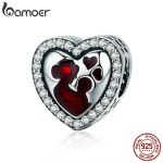 BAMOER 100% 925 Sterling Silver Great Mother's Love Heart Engrave Charm Beads fit Bracelet & Necklace <b>Jewelry</b> Mother Gift SCC634