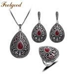Feelgood Antique Silver Color Turkey Jewellery Vintage Water Drop Pendant Necklace Sets <b>Fashion</b> Women <b>Jewelry</b> Set For Party Gift