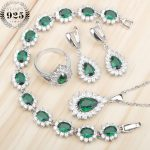 Green Zircon Costume <b>Silver</b> 925 Jewelry Sets Women Stones Earrings Pendant&Necklace Rings Wedding Set of Jewelery Gift Box