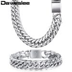 Davieslee Mens Necklace <b>Bracelet</b> Chain Cuban Link 316L Stainless Steel Gold <b>Silver</b> Tone 16mm LHSM04