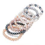 SNH Potato Shape Stretch Adjustable Real Genuine Freshwater Natural Pearl Bangle <b>Bracelet</b> For Women 7 Colors Per Set