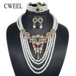 CWEEL Fashion <b>Jewelry</b> Set For Women Bridesmaid 4 Layers Luxury Imitation Crystal Zircon Bridal Wedding Costume Turkish <b>Jewelry</b>