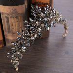 Duolafine Bridal Hair <b>Jewelry</b> Vintage Baroque Silver Black Color Rhinestone Crystal Queen Wedding Crown tiara Hair Accessories