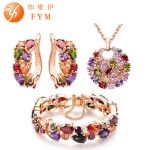 FYM Luxury Mona Lisa Multicolor Crystal Necklace Ring Earrings Rose Gold Color <b>Jewelry</b> Sets for Women Colorful <b>Jewelry</b> Set