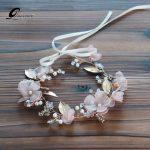 Pink Flower Tiara Bridal Headband Tiaras Wedding Hair Accessories Pearls Hairband Women Leaves Headpiece Bridal Hair <b>Jewelry</b>