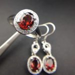 Natural red garnet gem jewelry sets natural gemstone ring <b>Earrings</b> 925 <b>silver</b> Luxury pillow round women fine wedding jewelry