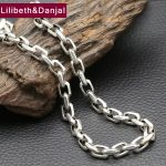 2017 925 <b>Sterling</b> <b>Silver</b> Necklace Men <b>Jewelry</b> Punk 8mm Wide Square Chain Pendant Necklace Women Gift Fine <b>Jewelry</b> N3