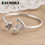 BALMORA Solid 999 Pure <b>Silver</b> Fish & Lotus Flower Open Bangles for Women Gift Retro <b>Bracelets</b> Cute Animal <b>Silver</b> Jewelry SZ0327