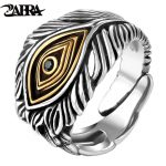 ZABRA 925 Sterling Silver Adjustable Opening Retro Style Male Cool Ring 100% Real Pure Silver Man <b>Jewelry</b> Vintage Eye God Rings