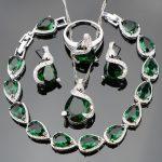 925 Sterling Silver Top Green Cubic Zirconia White Rhinestones <b>Jewelry</b> Sets For Women Earrings/Pendant/Necklace/Rings/Bracelets
