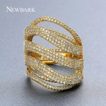 NEWBARK Brand Wide Crystal Ring Fashion Female <b>Wedding</b> Gold Color Multi Row Stacked Hollow Ring For Women CZ Stone Paved <b>Jewelry</b>