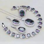 925 Sterling Silver <b>Jewelry</b> Mystic Rainbow Cubic Zirconia White CZ <b>Jewelry</b> Sets For Women <b>Necklace</b>/Earring/Pendant/Ring/Bracelet