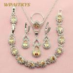WPAITKYS Champagne Semi-precious Stone <b>Silver</b> Color Jewelry Sets For Women Anniversary Necklace Earrings <b>Bracelet</b> Ring Free Box