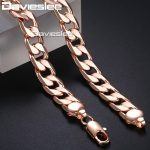 Men's Gold <b>Necklace</b> Curb Cuban Link Chain 585 Rose Gold Filled <b>Jewelry</b> for Men 12mm DLGN321