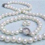 Prett Lovely Women's Wedding shipping>>8-9mm Genuine White Akoya Cultured Pearl necklace bracelet Earrings set BV65