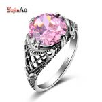Szjinao Fashion Female Wedding <b>Handmade</b> Rings For Women Pink Crystal Vintage 925 Sterling Silver Engagement <b>Jewelry</b> Wholesale