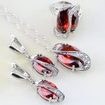 Trendy Egg Shaped 925 Sterling Silver <b>Jewelry</b> Sets Red Garnet Zircon White CZ For Women Wedding Earring/Pendant/Necklace/Ring