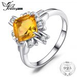 JewelryPalace 2.2ct Yellow Square Genuine Citrine White Rock Crystal Cocktail Ring 925 Sterling <b>Silver</b> Fine <b>Jewelry</b> For Women