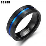 Somen 8mm Blue Line Men Tungsten Carbide Ring Male Engagement Wedding Rings <b>Fashion</b> <b>Jewelry</b> Masonic Rings Wholesale Drop Shiping