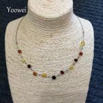 Yoowei Natural Amber <b>Necklace</b> Genuine Beaded Vintage Modernist Women Sterling <b>Silver</b> 18 inch Retro <b>Necklace</b> Baltic Amber Jewelry