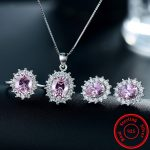 Modian 2017 Fashion <b>Jewelry</b> Pink Color Zirconia Crystal Earrings Solid 925 Sterling <b>Silver</b> Ring Sets Classic Pendant Necklace