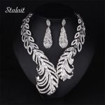 New Style Peacock Feather White Full Rhinestone Short Collar Choker <b>Necklace</b> Big Statement <b>Jewelry</b> Set For Women Party Dress