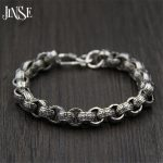 JINSE 21cm Link Chain <b>Bracelet</b> 925 Sterling <b>Silver</b> 9.50mm Thickness 100% S925 Solid Thai <b>Silver</b> Men <b>Bracelets</b> for Women Jewelry