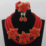 Flower Nigerian Wedding African Red Crystal Beads <b>Jewelry</b> Set Flowers <b>Handmade</b> Bride Necklace <b>Jewelry</b> Set Free ShippingABL963