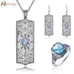 Fashion Vintage Jewelry Set For Women Dubai Blue CZ Stone Crystal Wedding Jewelry 925 <b>Silver</b> Sets Engagement Party Gift of Love