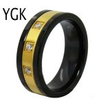 YGK <b>Wedding</b> <b>Jewelry</b> Black With Golden Genter CZ Tungsten Rings for Men's Bridegroom <b>Wedding</b> Engagement Anniversary Ring