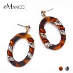 eManco Wholesale Crystal Dangle Earrings Black&Coffee Color Spectacle Eye Rhinestone Acrylic Earrings 2018 New Arrivals <b>Jewelry</b>