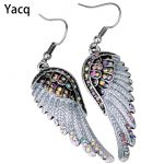 Angel wings dangle earrings <b>antique</b> gold silver color W crystal women girls biker bling <b>jewelry</b> gift wholesale dropshipping EC23