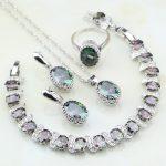 Crown Mystic Rainbow Zircon 925 Sterling Silver Bridal <b>Jewelry</b> Sets For Women Party <b>Necklace</b>/Earring/Pendant/Ring/Bracelet