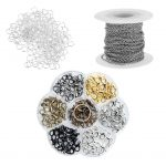 1 Set Stainless Steel Cable Chain Lobster Clasp Open Ring Bulk DIY <b>Jewelry</b> <b>Handmade</b> Supplies